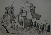 Texas Drawings - Impression 2 San Jose Mission San Antonio Texas by Lester Glass