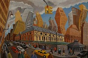 Streetscape Paintings - Impression Bryant Square NYC by Lester Glass