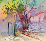 Town Drawings Prints - Impression de Trevelez Sierra Nevada 02 Print by Miki De Goodaboom