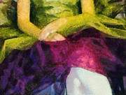 Impressionist Mixed Media Acrylic Prints - Impression of a Ballerina Lap Acrylic Print by Angelina Vick