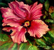 Red Rose Pastels - Impression of Hibiscus  Pastel by Antonia Citrino
