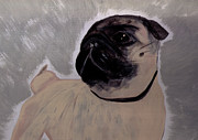 Fawn Pug Paintings - Impression Pug by Tanya Stringer