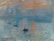 Water Vessels Painting Metal Prints - Impression Sunrise Metal Print by Claude Monet