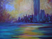 Autumn Landscape Sculpture Prints - Impressionism-city And Sea Print by Soho