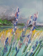 Lavender Fields Drawings Framed Prints - Impressionism Fantasy Field Framed Print by Eric  Schiabor