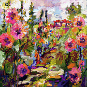 Blooms Mixed Media Acrylic Prints - Impressionist Garden Path and Hollyhock Acrylic Print by Ginette Callaway