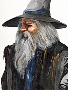 Featured Paintings - Impressionist Wizard by J W Baker
