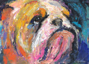 Pet Portraits Drawings Prints - Impressionistic Bulldog painting Print by Svetlana Novikova
