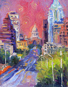 Texas Prints Posters - Impressionistic Downtown Austin city painting Poster by Svetlana Novikova