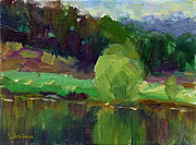 Picturesque Painting Posters - Impressionistic Oil landscape lake painting Poster by Svetlana Novikova