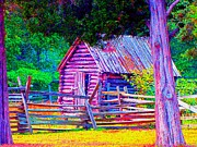 Deer Camp Prints - Impressionistic One Room Log Cabin Print by Annie Zeno