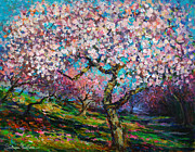 Svetlana Novikova Art Prints - Impressionistic Spring Blossoms Trees Landscape painting Svetlana Novikova Print by Svetlana Novikova