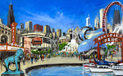 Skylines Painting Posters - Impressions of Chicago Poster by Robert Reeves