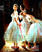 Ballet Art Mixed Media Prints - Impressions Of Modern Ballet Print by Zeana Romanovna