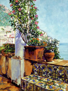 Patios Posters - Impressions Of The Riviera Poster by David Lloyd Glover