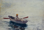 Boats In Harbor Prints - In a Boat Print by Winslow Homer