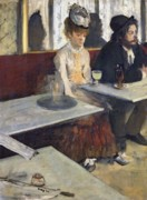 Tray Posters - In a Cafe Poster by Edgar Degas