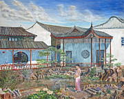 Lady In Lake Painting Posters - In a Chinese Garden Poster by Anthony Lyon