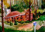 Log Cabin Drawings Prints - In a Cottage in the Woods Print by Mindy Newman
