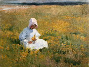 Bonnet Prints - In a Field of Buttercups Print by Marianne Stokes