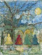 Tibetan Buddhism Mixed Media - In a Field with the Sunshine Buddhas by Nancy Hamlin-Vogler