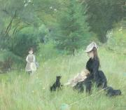 Pastel Dog Paintings - In a Park by Berthe Morisot