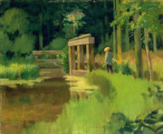 Pond In Park Painting Prints - In a Park Print by Edouard Manet