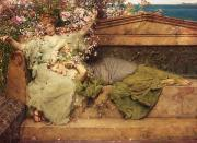 Roses Paintings - In a Rose Garden by Sir Lawrence Alma-Tadema