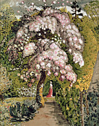 Pink Blossoms Framed Prints - In a Shoreham Garden Framed Print by Samuel Palmer