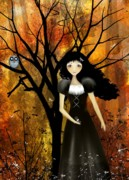 Goth Girl Framed Prints - In An Autumn Forest Framed Print by Charlene Zatloukal