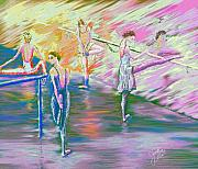 Ballet Dancers Digital Art Framed Prints - In Ballet Class Framed Print by Cynthia Sorensen