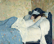 Interior Morning Paintings - In Bed by Federigo Zandomeneghi