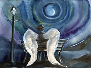 Fedora Paintings - In between Midnight and the Moon by Cori Caputo