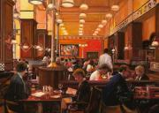 Brasserie Paintings - In Birreria by Guido Borelli