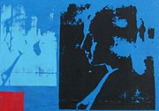 Serigraph Prints - In Blue Space 01 Print by Sunil K Suryavanshi