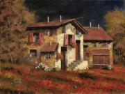 Landscape Painting Originals - In Campagna La Sera by Guido Borelli