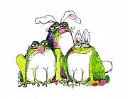 Easter Bunnies Posters - In Disguise Poster by Pat Saunders-White            