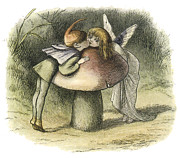 Fairies Framed Prints - In Fairyland A Fairy Kiss Framed Print by Richard Doyle
