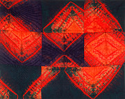Fabric Quilt Tapestries - Textiles Posters - In Flux Poster by Mildred Thibodeaux