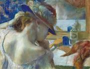 Reflection Paintings - In Front of the Mirror by Edgar Degas