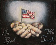 American Flag Pastels Prints - In God We Trust Print by Heidi Dwyer