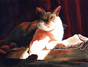 Watercolor Cat Paintings - In Her Glory II               by Kathy Braud