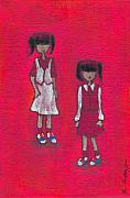 Girls Paintings - In Her Shoes by Ricky Sencion
