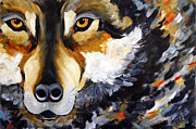 Wolf Artist Painting Posters - In His Eyes Poster by Laurie Pace