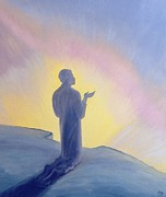 Prayer Paintings - In His life on earth Jesus prayed to His Father with praise and thanks by Elizabeth Wang