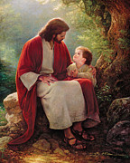 Jesus With A Boy By His Side Framed Prints - In His Light Framed Print by Greg Olsen