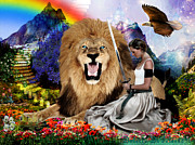 Lion Of Judah Posters - In His Presences  Poster by Dolores DeVelde