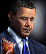 Barack Obama  Paintings - In Jesus Christ Name by Reggie Duffie