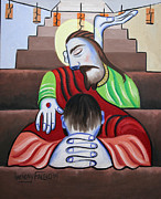 Cubist Posters - In Jesus Name Poster by Anthony Falbo