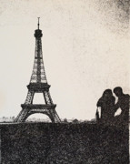 Eifel-tower Posters - In Love In Paris Poster by Saundra Smoker